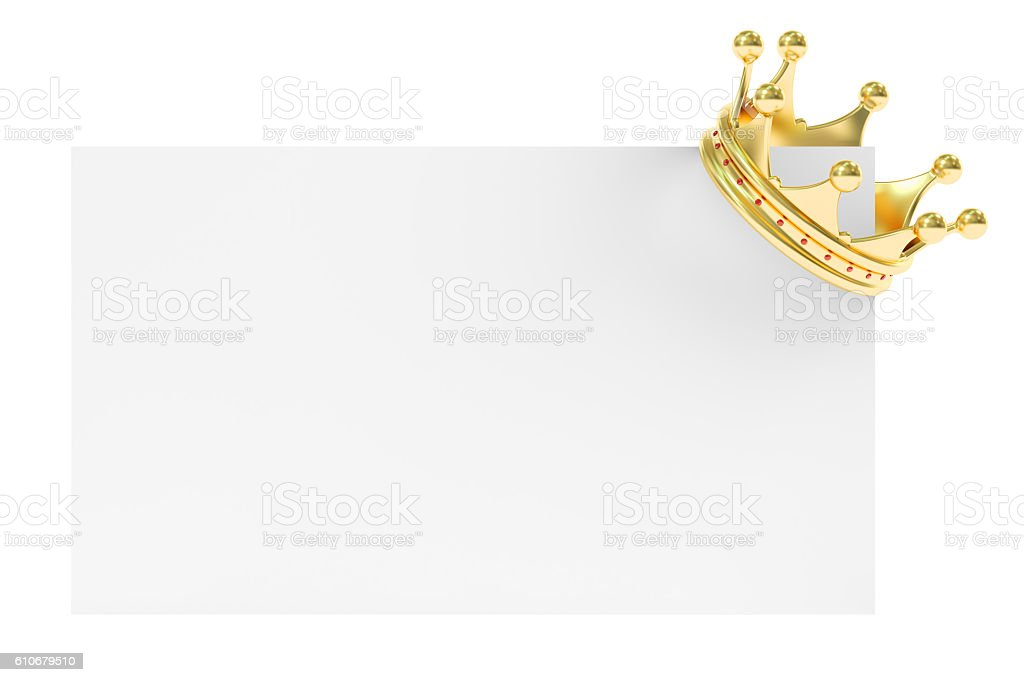 Golden Crown on Blank Card, 3D rendering stock photo