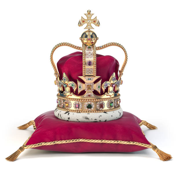 Golden crown on red velvet pillow for coronation. Royal symbol of british UK monarchy. Golden crown on red velvet pillow for coronation. Royal symbol of british UK monarchy.  3d illustration royalty stock pictures, royalty-free photos & images