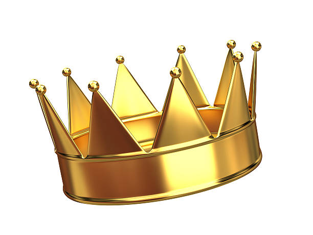 a golden crown with ten points  - crown stock photos and pictures