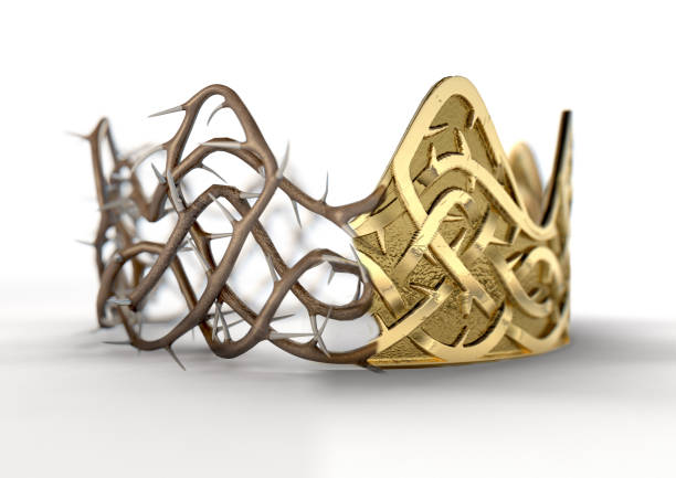 golden crown with thorn patterns - thorn stock photos and pictures