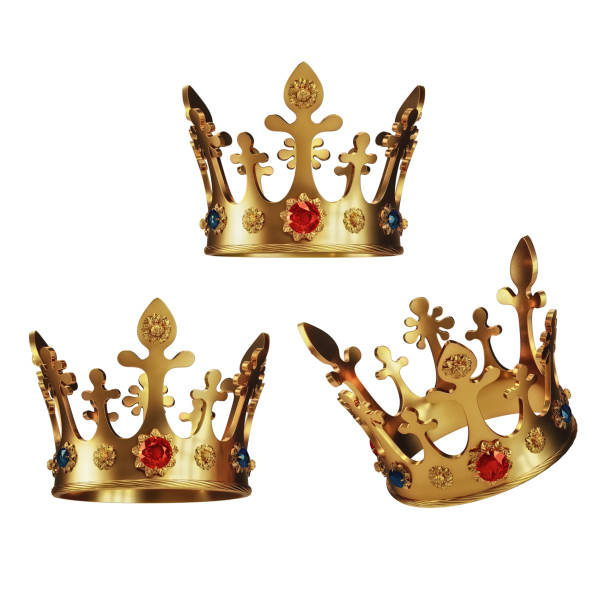 Golden Crowns isolated on White Background stock photo