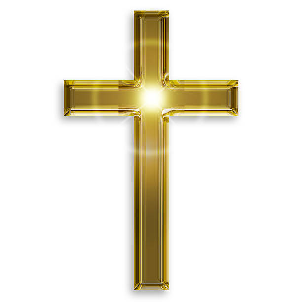 golden crucifix stock photo