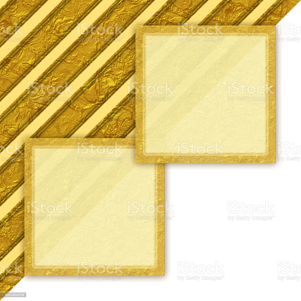 Golden crumpled background with diagonal lines and place for text stock photo
