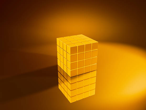 Golden Cube 4x4x4 3D Render. Very high resolution available! Use it for Your own composings!Related images: golden cube stock pictures, royalty-free photos & images