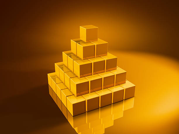 Golden Cube Big Pyramid 3D Render of a pyramid made from pixelated golden cubes. Very high resolution available! Concept image for modular building. Use it for Your own composings!Related images: golden cube stock pictures, royalty-free photos & images