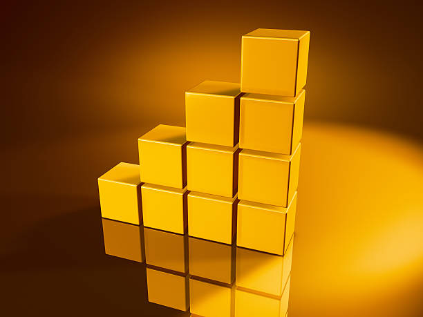 Golden Cube Steps 3D Render of steps upwards made from pixelated golden cubes. Very high resolution available! Concept image for success. Use it for Your own composings!Related images: golden cube stock pictures, royalty-free photos & images