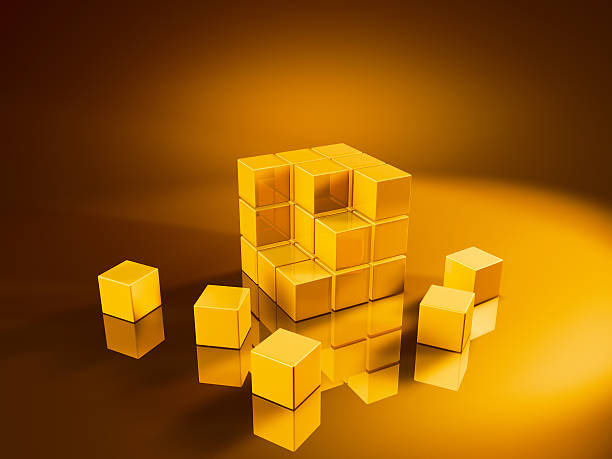 Golden Cube Three Rows Missing Pieces 3D Render of a incomplete cube built with small golden cubes. Very high resolution available! Concept image for an unfinished project. Use it for Your own composings!Related images: golden cube stock pictures, royalty-free photos & images