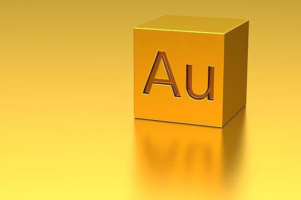 golden würfel mit au mark - aurum stock-fotos und bilder