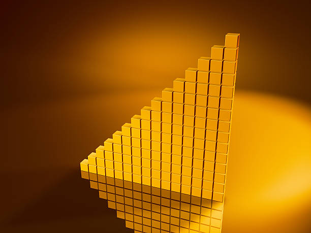 Golden Cubes Graph Moving Up 3D Render of a graph moving up made from pixelated golden cubes. Very high resolution available! Concept image for success. Use it for Your own composings!Related images: golden cube stock pictures, royalty-free photos & images