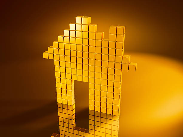 Golden Cubes House Icon 3D Render of a House Icon with pixelated golden cubes. Very high resolution available! Use it for Your own composings!Related images: golden cube stock pictures, royalty-free photos & images