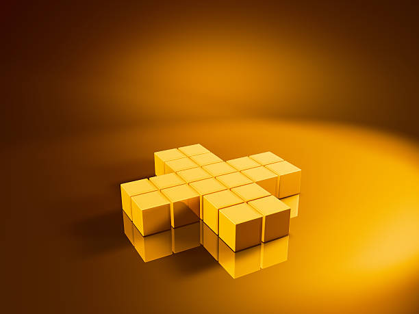 Golden Cubes Plus Sign 3D Render of a plus sign made from pixelated golden cubes. Very high resolution available! Use it for Your own composings!Related images: golden cube stock pictures, royalty-free photos & images