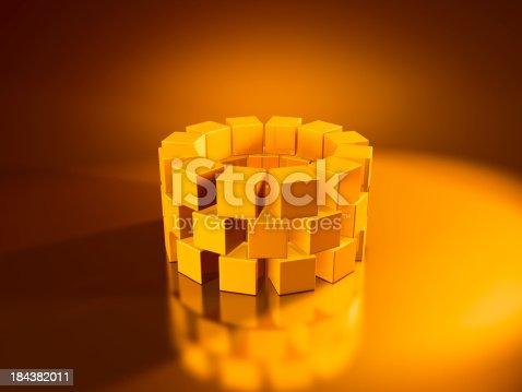 istock Golden Cubes Ring 184382011