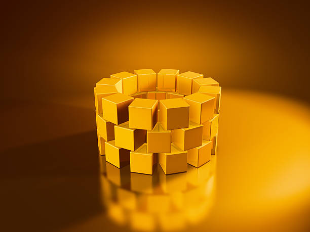 Golden Cubes Ring 3D Render of a ring built with golden cubes. Very high resolution available! Use it for Your own composings!Related images: golden cube stock pictures, royalty-free photos & images