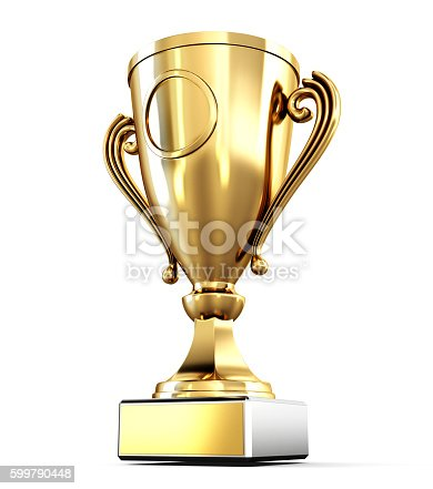 istock Golden Cup isolated on white background. 3d render image 599790448