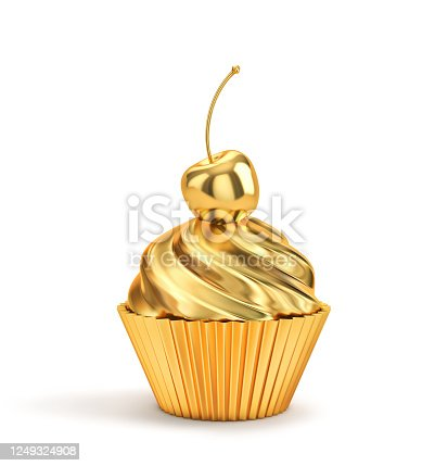 Golden cupcake with cherry isolated on a white. 3D rendering with clipping path
