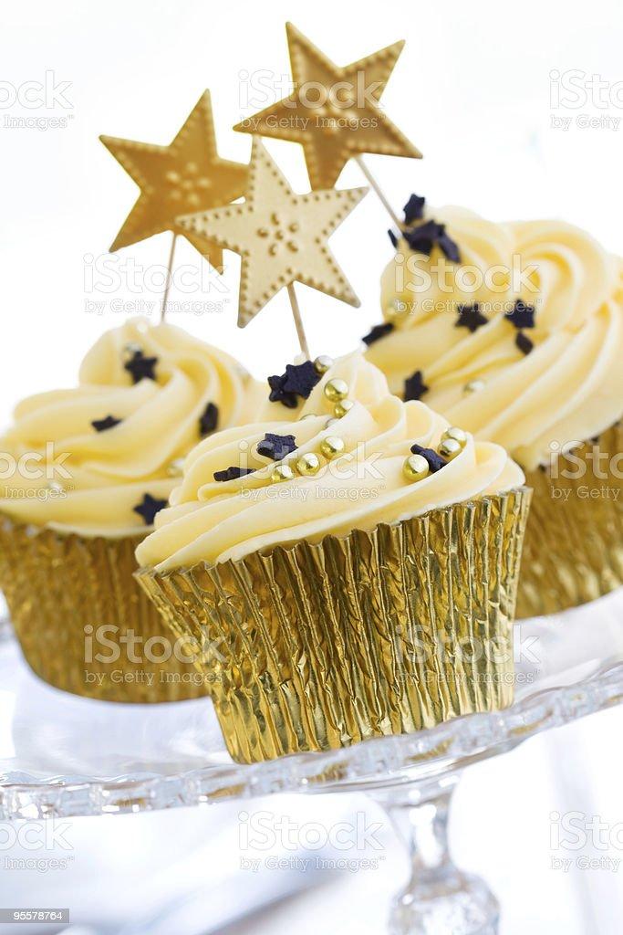 Golden cupcakes stock photo