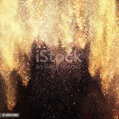 istock Golden curtain. 618354960