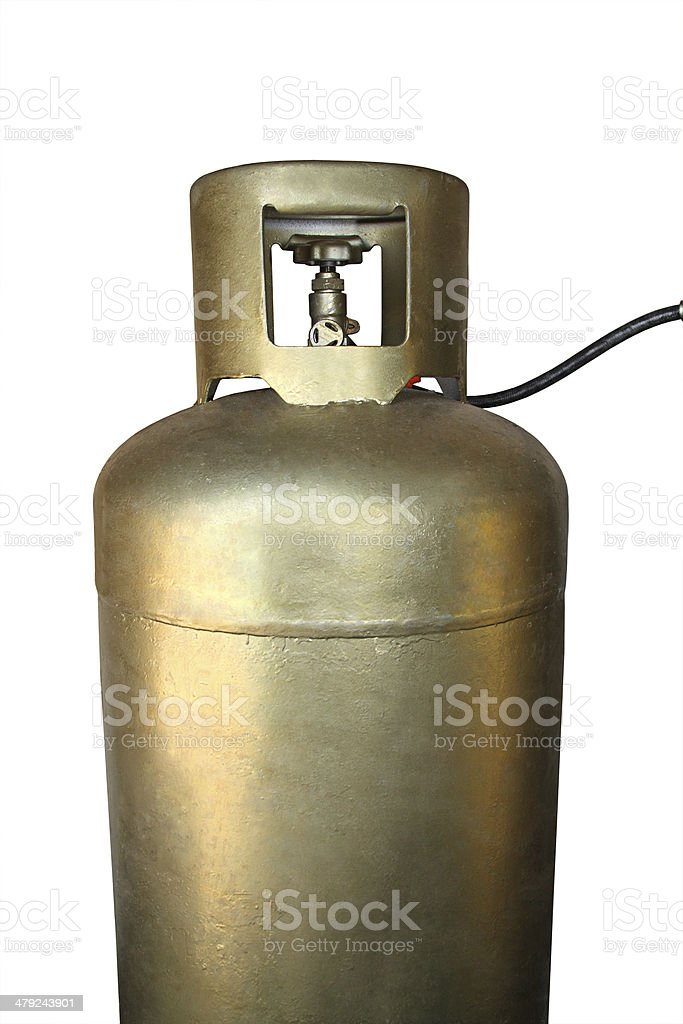 Golden cylinder with LPG stock photo