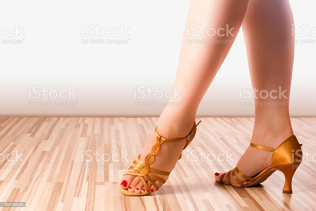 golden dance shoes stock photo