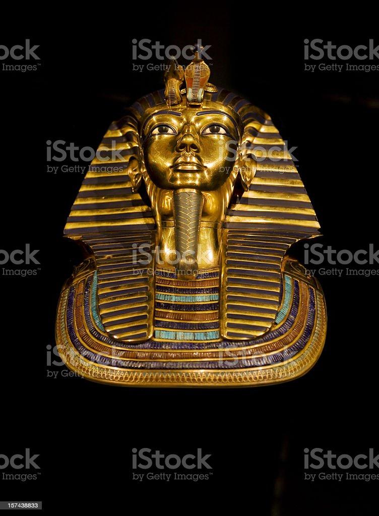 Golden death mask of egypt pharaoh Tutankhamun stock photo