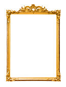 Golden decorative picture frame isolated on white background with clipping path