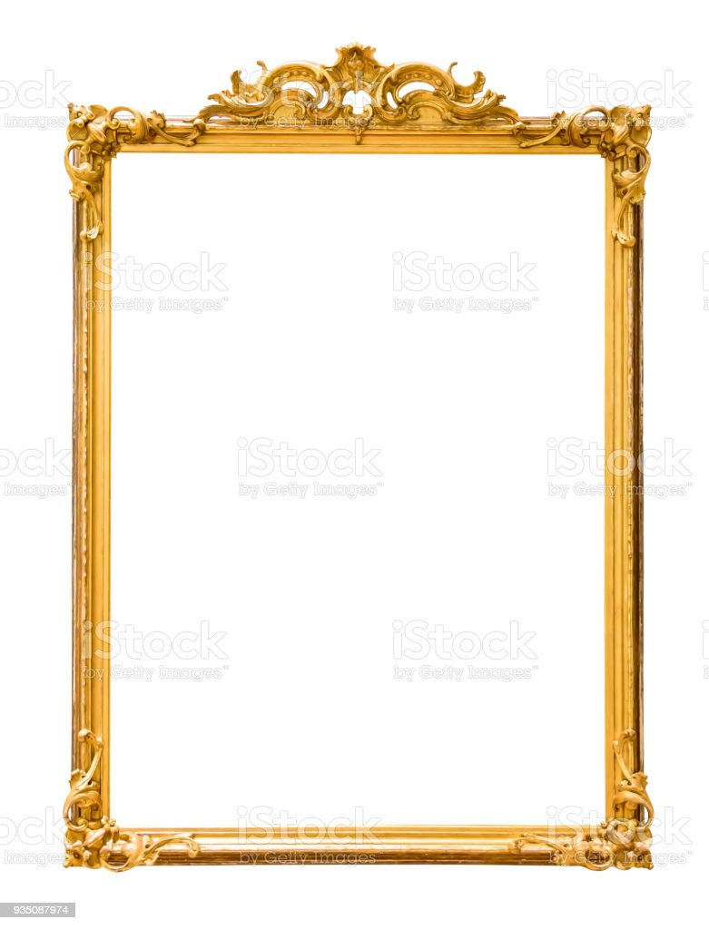 Golden decorative picture frame isolated on white – zdjęcie