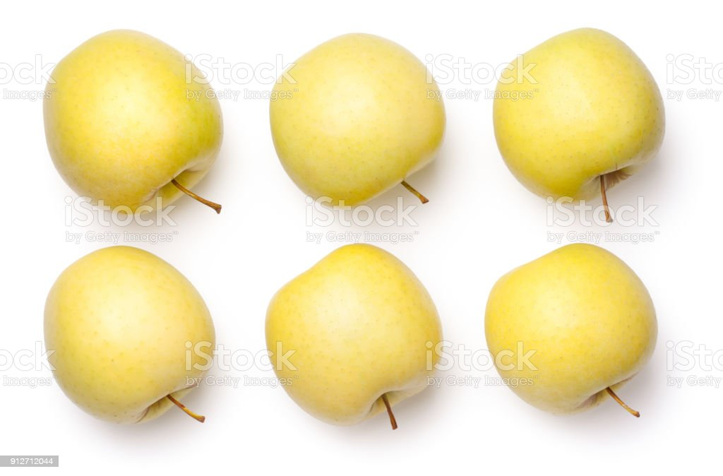 Goldene Äpfel Isolated on White Background – Foto