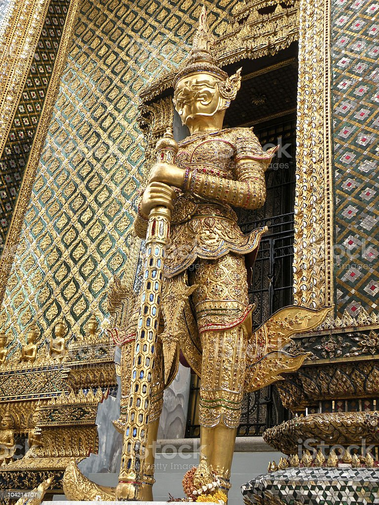 Golden demon statue Grand Palace royalty-free stock photo