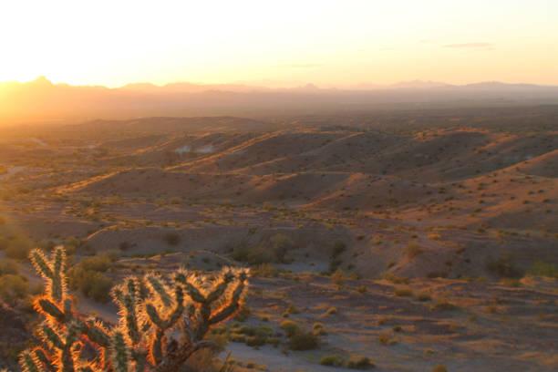 Golden Desert Landscape at Sunset stock photo