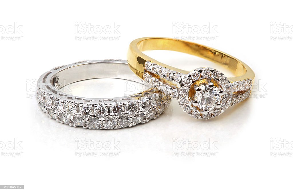 Golden diamond ring and contemporary diamond stock photo