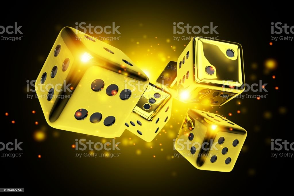 Golden Dice Casino Game stock photo