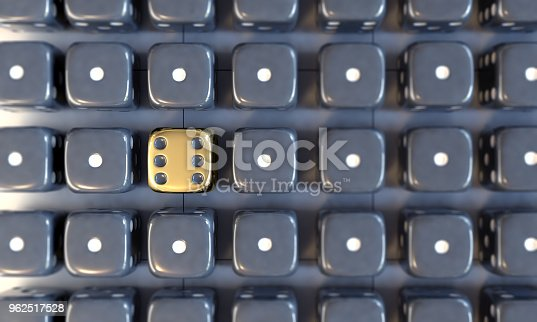 istock Golden Dice Standing Out From The Crowd 962517528
