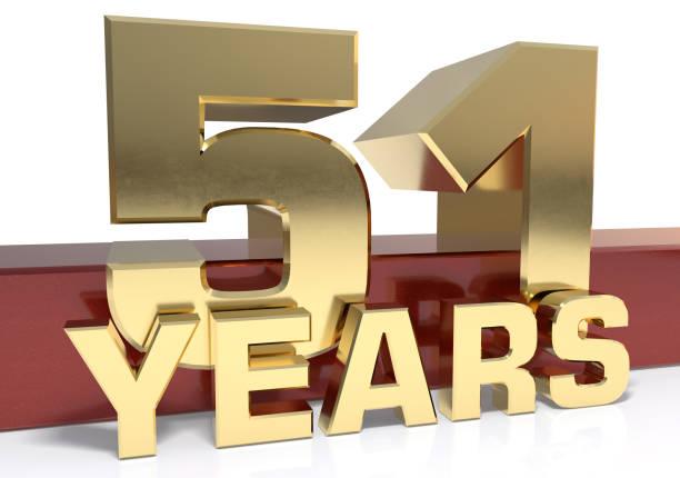 dígitos dorados cincuenta y uno y la palabra del año - numero 51 fotografías e imágenes de stock