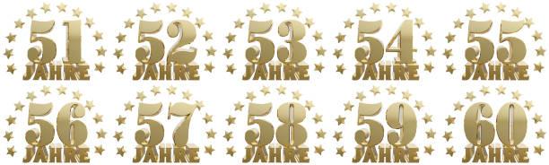 dígitos dorados uno y la palabra del año. - numero 51 fotografías e imágenes de stock
