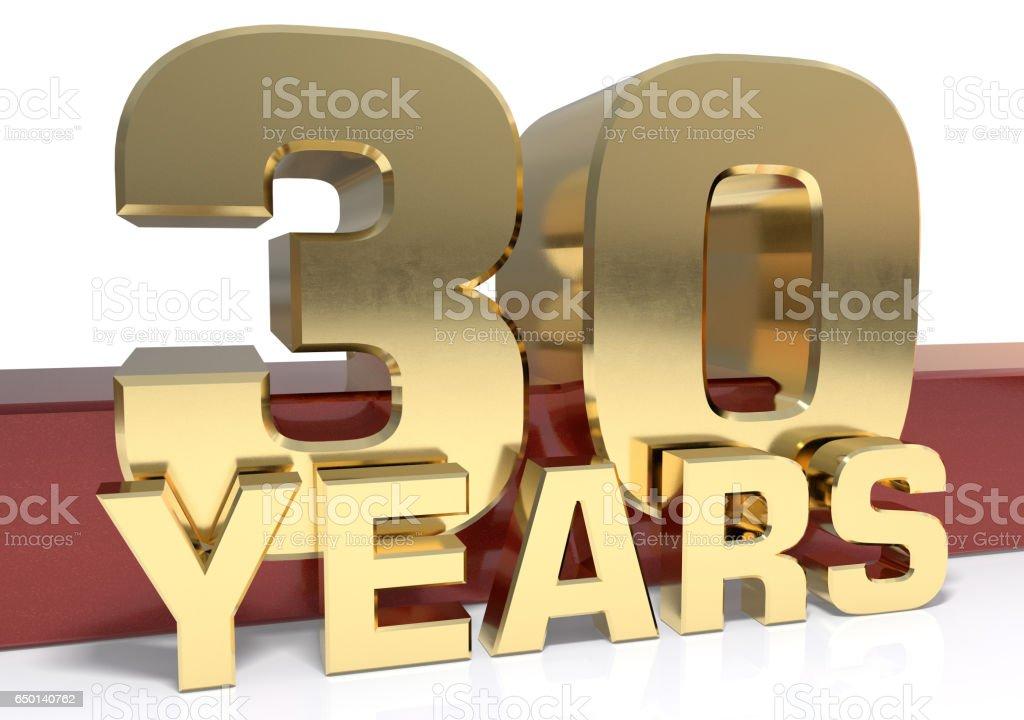 Dígitos dorados treinta y la palabra del año - foto de stock