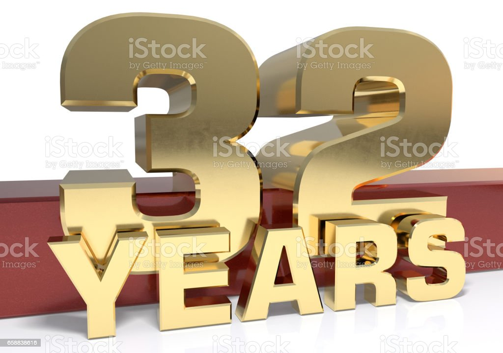 Golden digit thirty two and the word of the year stock photo