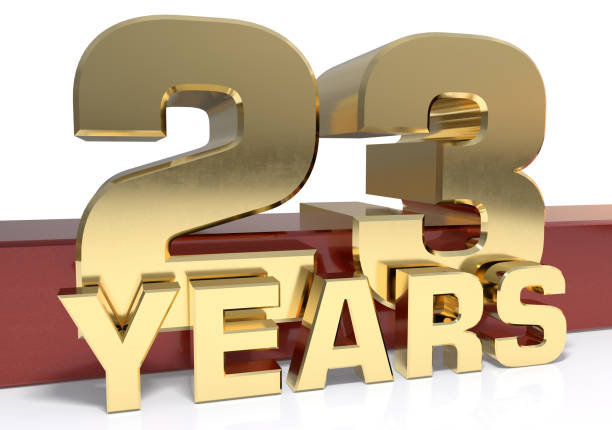 golden digit twenty three and the word of the year - number 23 stock photos and pictures