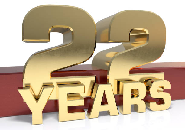 Golden digit twenty two and the word of the year stock photo