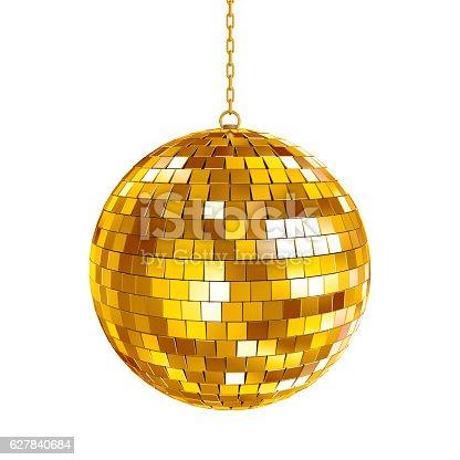 istock Golden disco ball 627840684
