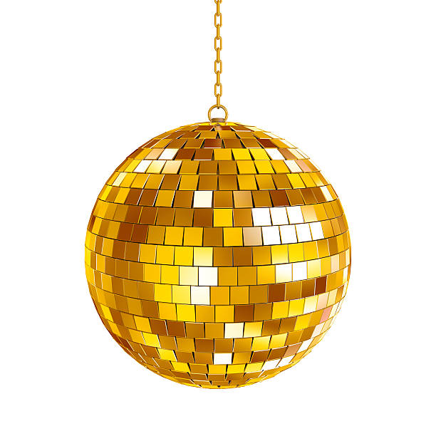 Golden disco ball Golden disco ball on white background, 3d render disco ball stock pictures, royalty-free photos & images
