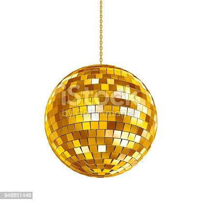 istock Golden disco ball 948851448