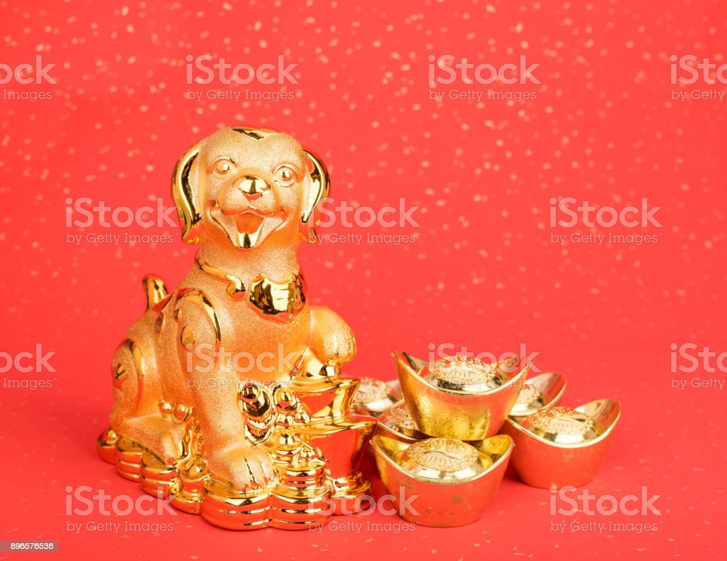 golden dog statue on red paper stock photo