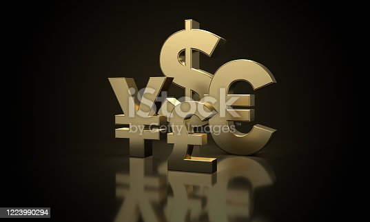 621262396 istock photo golden Dollar, Euro, Pound and Japanese Yen sign 1223990294