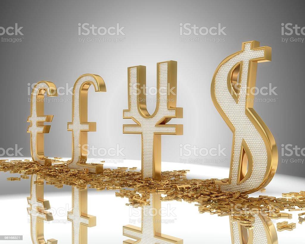 Golden Dollar, pound, euro and yen symbols with diamonds XXXLarge royalty-free stock photo