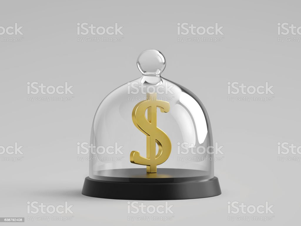 Golden dollar sign under glass bell jar stock photo