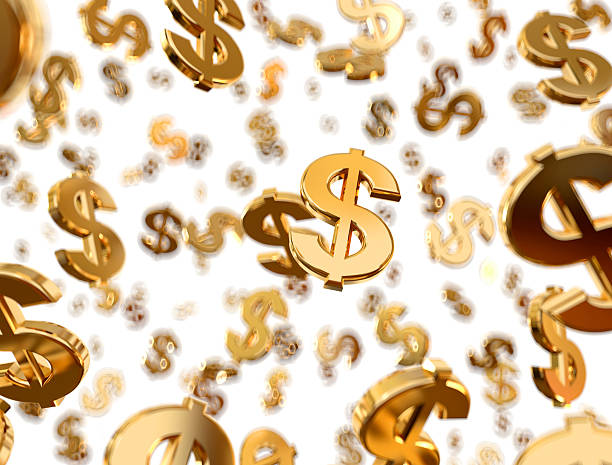 golden dollar signs raining with white background - dollar sign stock photos and pictures