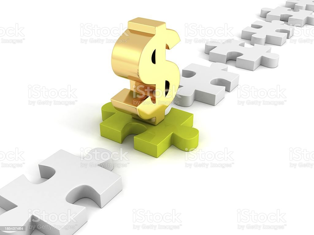 golden dollar symbol on green jigsaw puzzle royalty-free stock photo