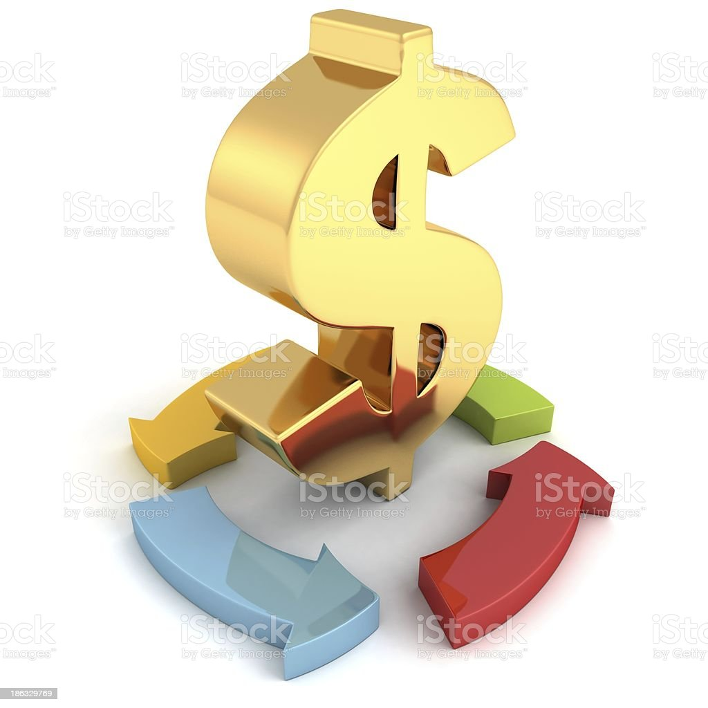 golden dollar symbol with cycled colorful arrows business concept royalty-free stock photo