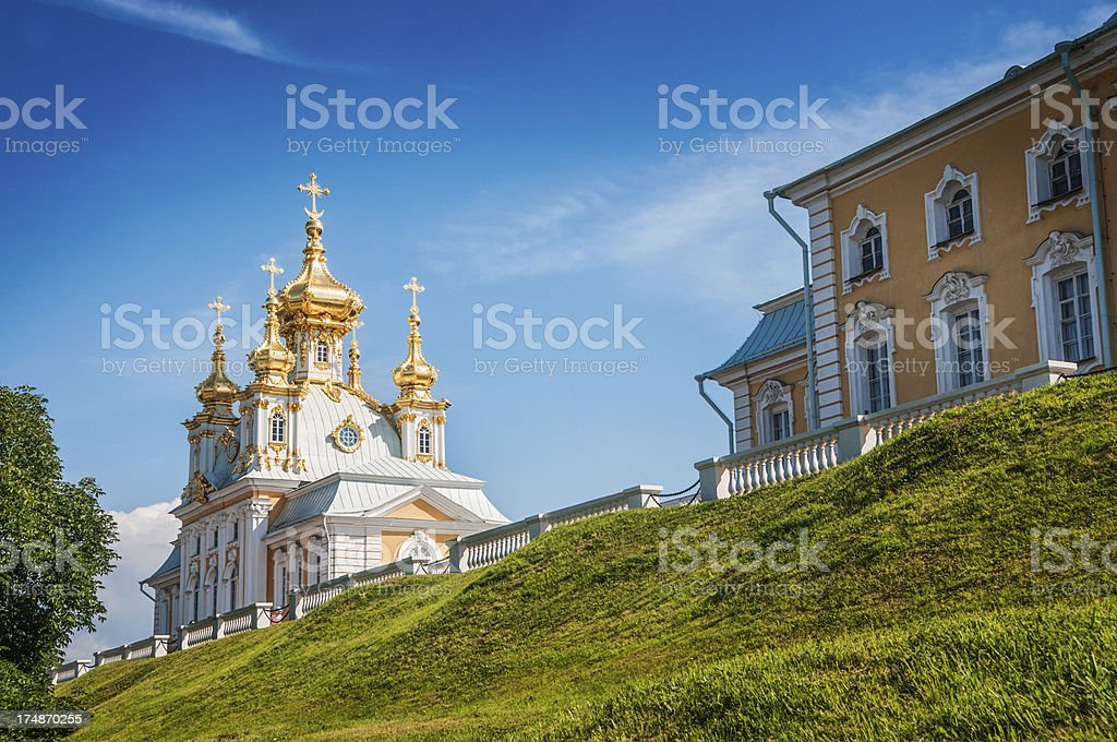 Golden Domes Church at Peterhof Palace in St. Petersburg, Russia royalty-free stock photo