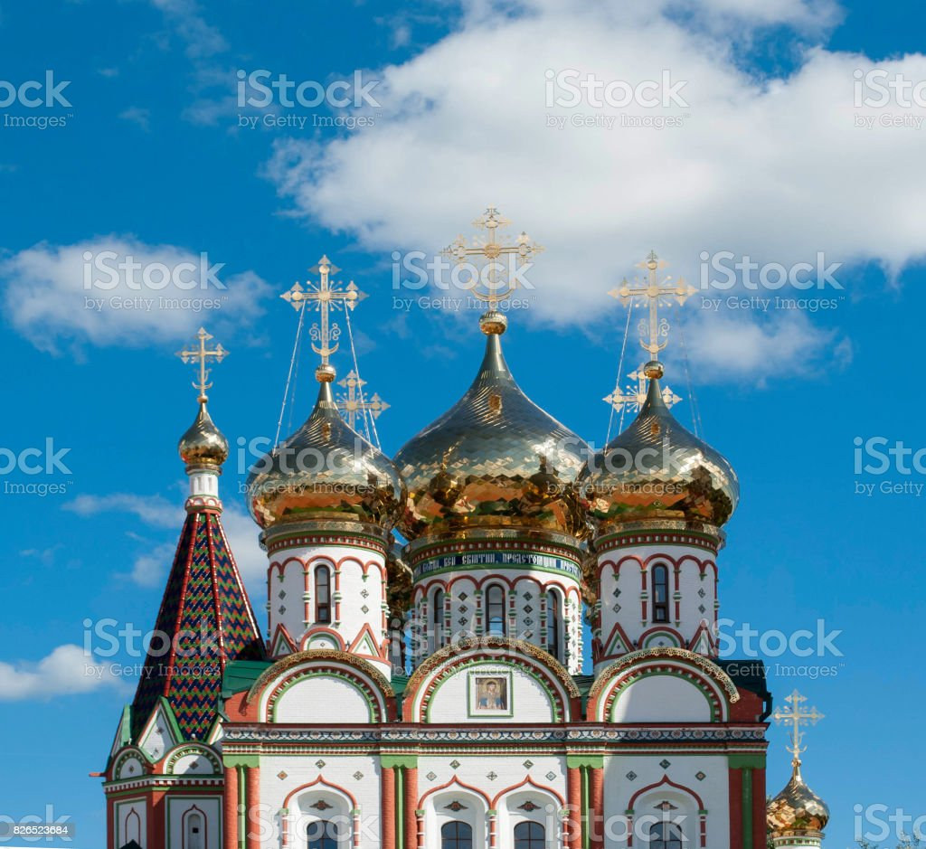 Golden domes of an othodox church in Gusev, Russia stock photo